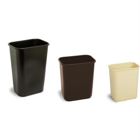 Continental Rectangular Plastic Wastebaskets-Beige(13 5-8 Qt.)