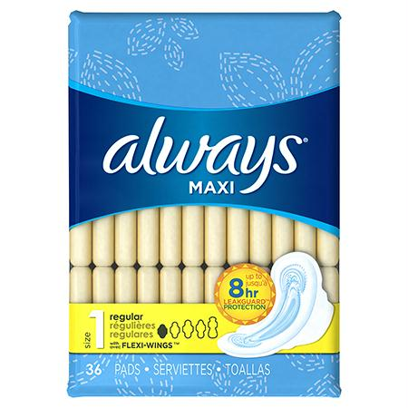 P&G Always Regular Maxi Pads w-Wings(36 ct.)