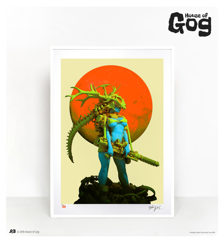 This Moonstone high quality art giclée from House of Gog, hand signed by artist, is an official collaboration with world-class digital artist, Pascal Blanché, based on his original artwork which made the cover of Heavy Metal magazine #270. This limited edition is stamped & numbered and embossed with House of Gog logo.