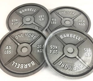 "Set Of 4 1M ""ONE MORE"" Barbell Weight Plates"