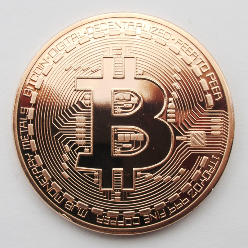 "Copper Plated ""Bronze"" or Gold Bitcoin Commemorative Collectors Coin"