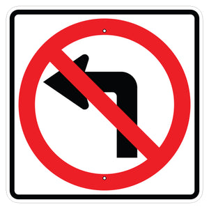 No Left Turn Symbol Sign