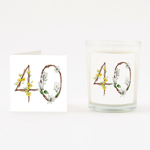 Floral 40th Boxed Candle & Card
