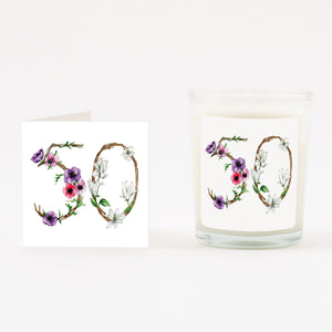 Floral 50th Boxed Candle & Card