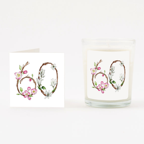 Floral 60th Boxed Candle & Card