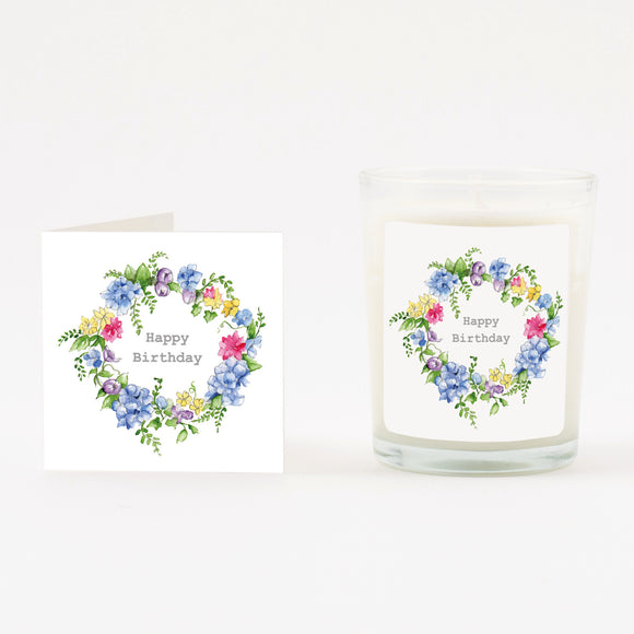 Birthday Hydrangea Boxed Candle & Card