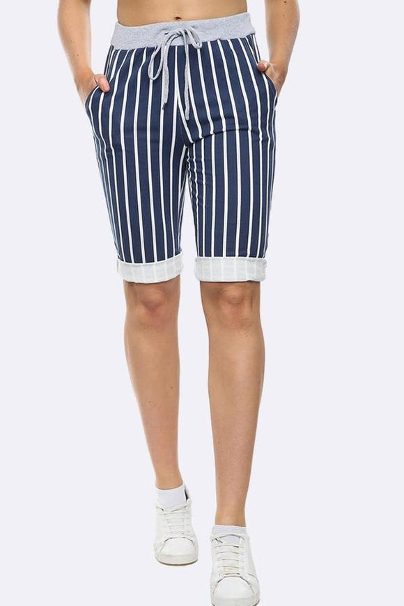 Italian Stripe Drawstring Shorts