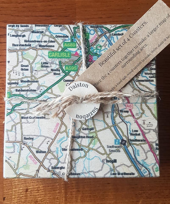 Dalston, Carlisle, Wigton, North Lakes  Map Coaster Set