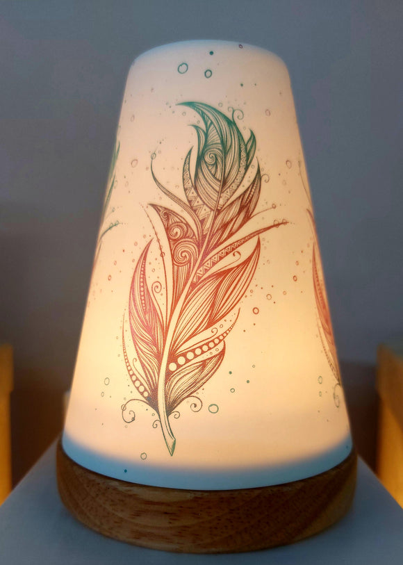Glowing Ceramic Candle Holder Feather