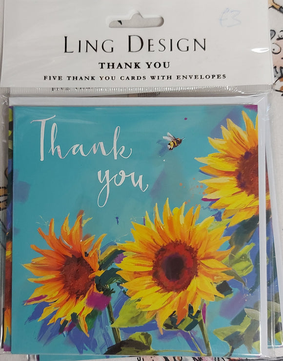 Thank you Card Pack Sunflower