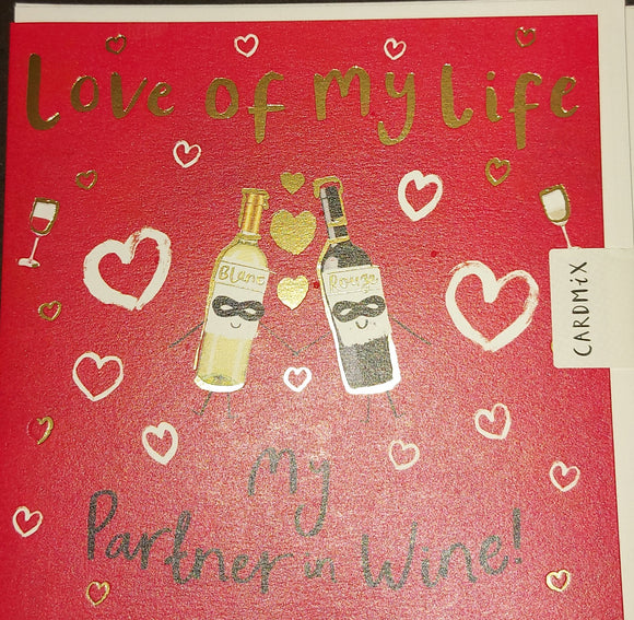 Valentines Day Card Partner in Wine
