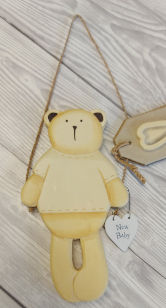 East of India Hanging Wooden Teddy