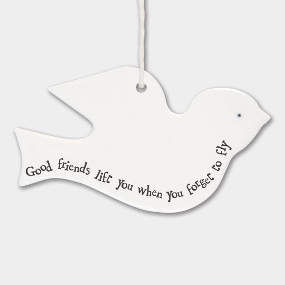 East of India Porcelain bird sign -Good friends lift you up