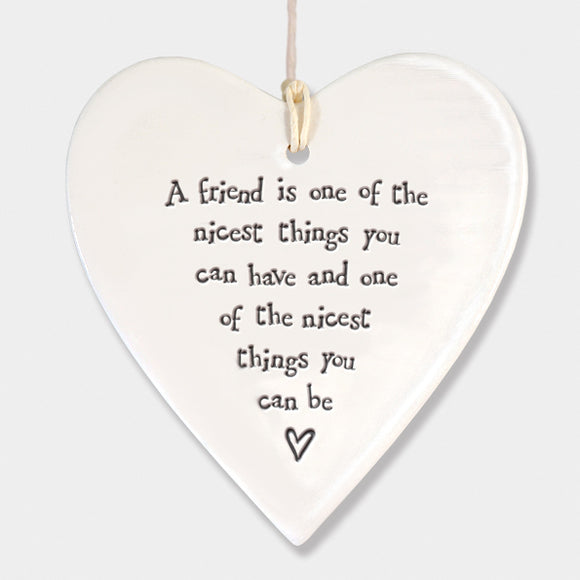 East of India Porcelain round heart sign -A friend is nicest