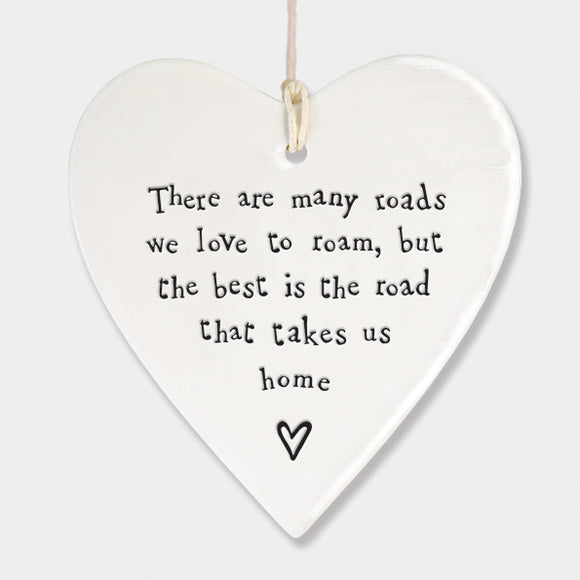 East of India Porcelain round heart sign -Road to home