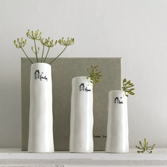 East of India 5781 Trio of bud vases-Home, family, love