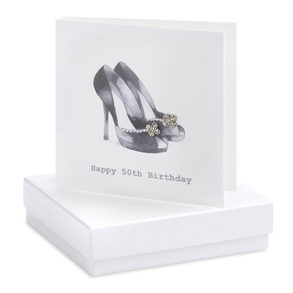 50th Birthday Shoe Boxed Earring Card