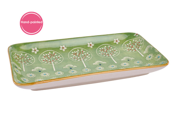 GREEN TREE Ceramic Snack Plate