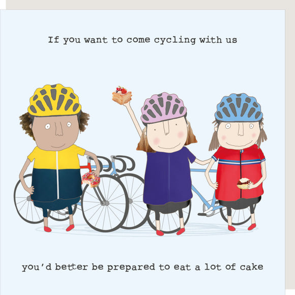 Cycling & Cake Greeting Card by Rosie Made a Thing