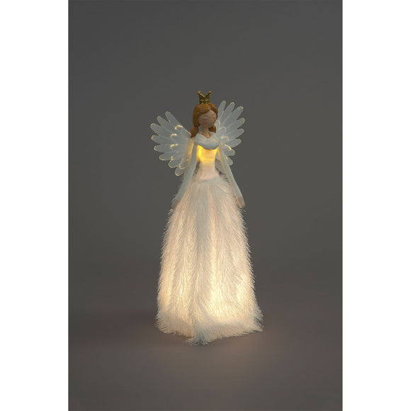 Snowtime 50cm LED Angel White Feathery Dress/Gold Crown