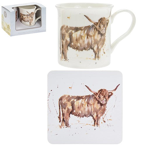 Country Life Mug Coaster Highland Cow