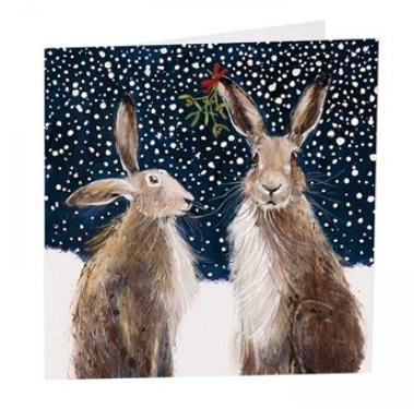 Art Beat pack of 6 Charity Christmas Cards Hares