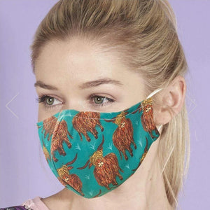 Reusable Face Mask Highland Cow by Eco Chic