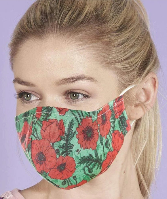 Reusable Face Mask Poppy by Eco Chic