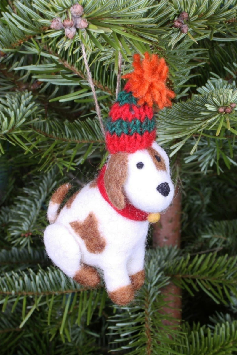 Fairtrade Felt Christmas Tree Decoration Patch Puppy Dog in a Woolly Hat