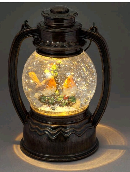Water Round Lantern with Robins/Warm White LED
