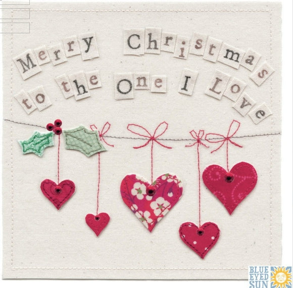 One I Love Christmas Card Hearts