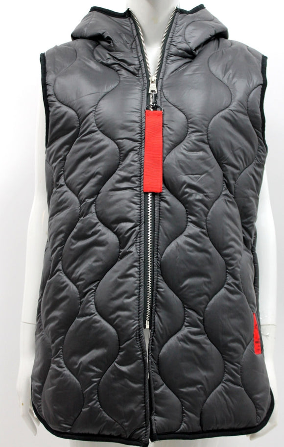 Italian Red Label Hooded Gilet Charcoal