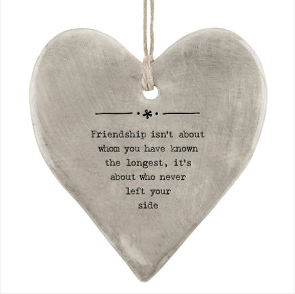 East of India Rustic hanging heart sign -Friendship