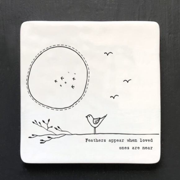 East of India Porcelain coaster -Feathers Appear