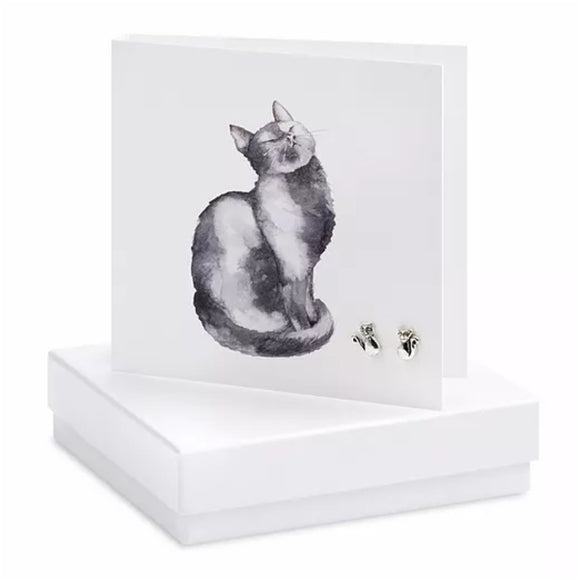 Boxed Earring Card Cat