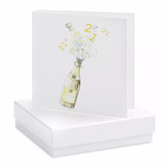 21st Champagne Boxed Earring Card