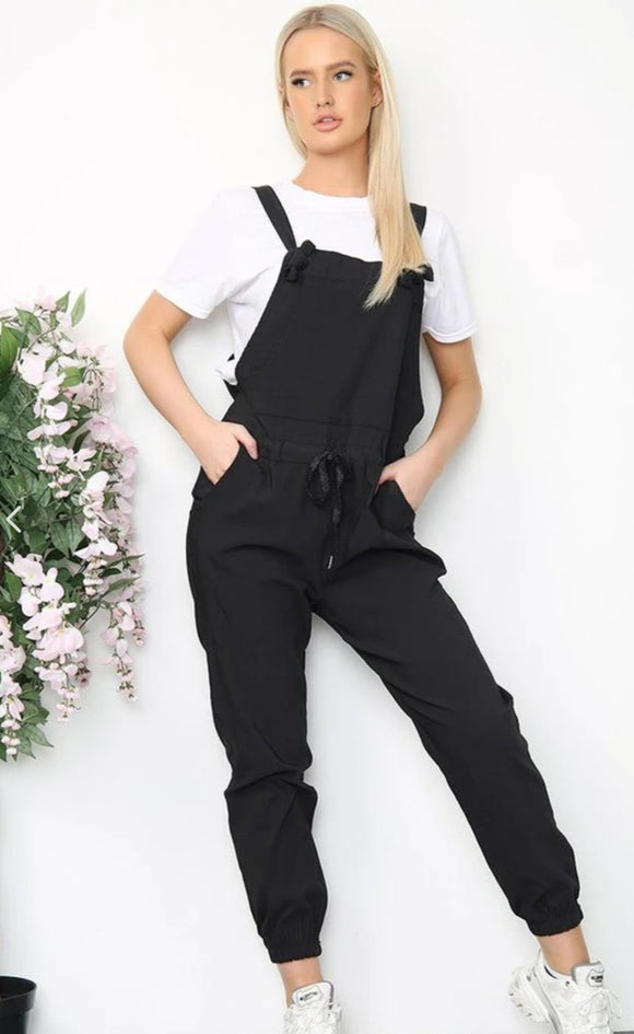 Italian Plain Stretch Tie Fastening 'Magic' Dungarees
