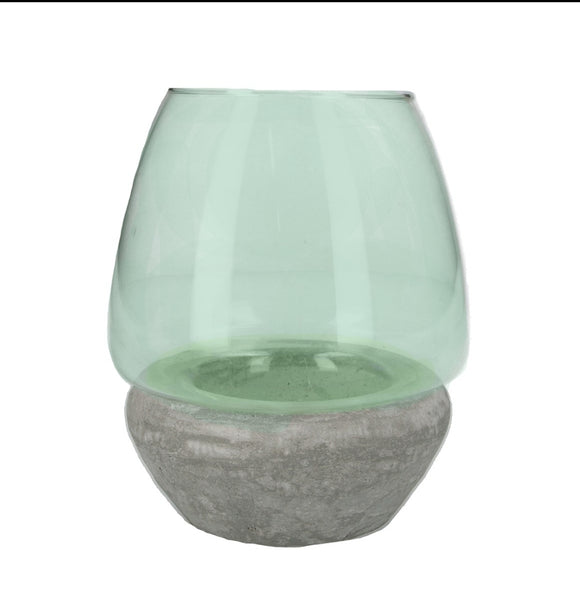 Glass/Concrete Candle Holder 18cm