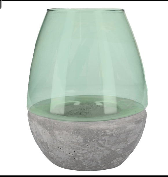 Glass/Concrete Candle Holder 21cm