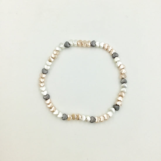 Ultra Delicate Heart Bracelet Three Tone
