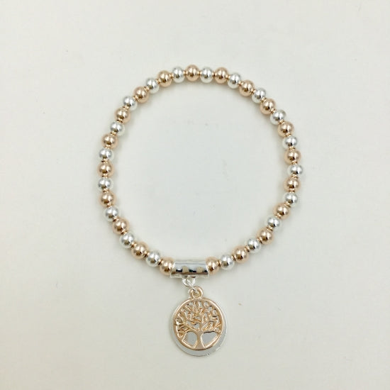 Mixed Gold Silver Bracelet with Tree of Life Charm