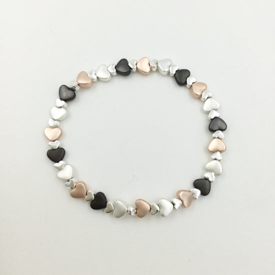 Delicate Heart Bracelet Three Tone