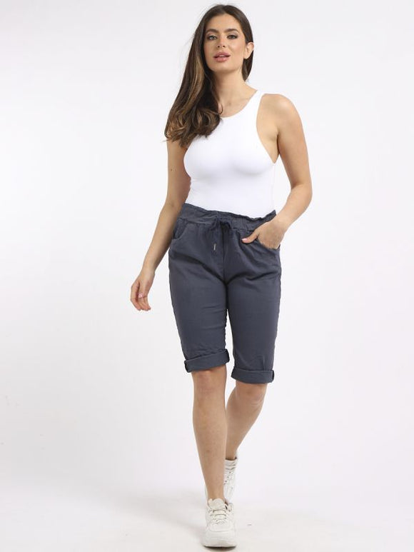 Italian Plain Knee Length Magic Shorts with back pockets