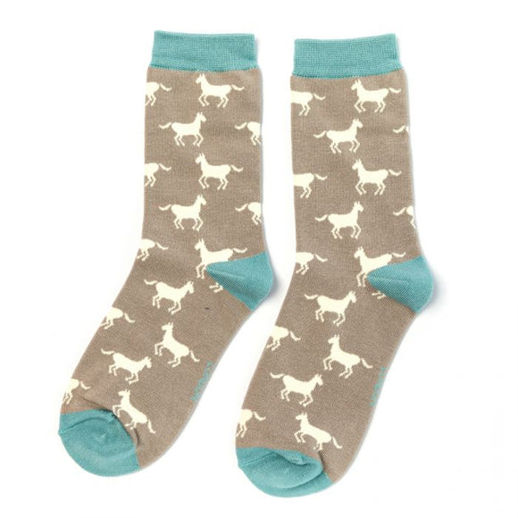Horse Bamboo Mix Socks Grey