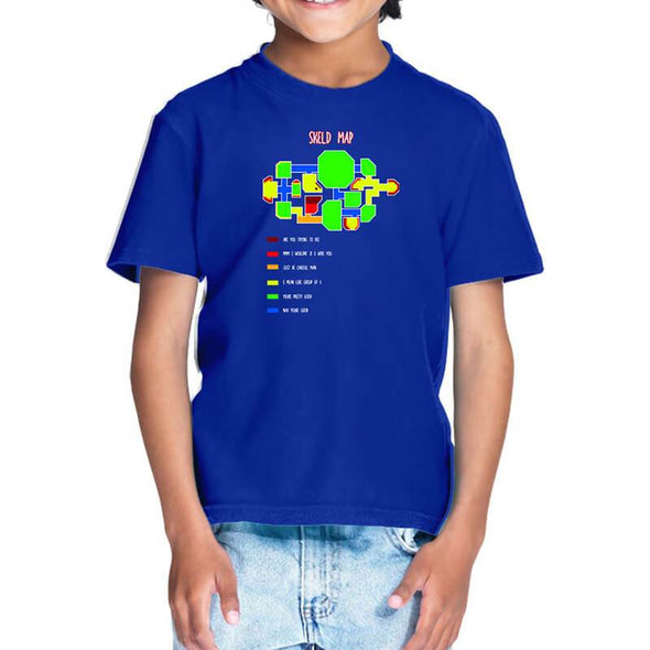 T-SHIRTS 1 / ROYAL BLUE Among Us - Skeld Heat Map T-Shirt For Kids FRYING PUN