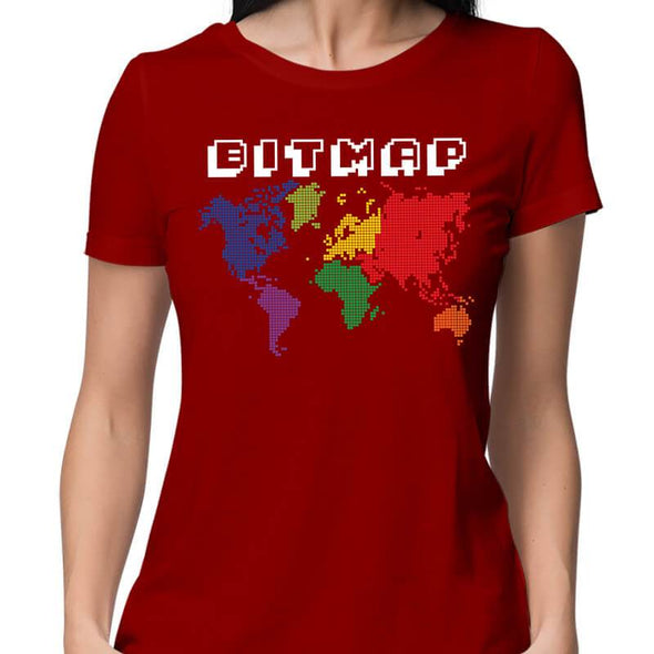 T-SHIRTS XS / RED Bitmap T-Shirt For Women FRYING PUN