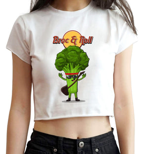 CROP TOPS S / WHITE Broc & Roll Crop Top For Women