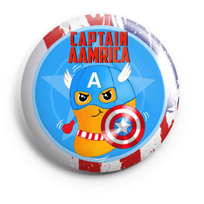BUTTON BADGES PATTERNED Captain Aamrica Button Badge