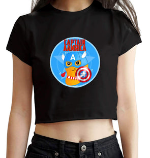 CROP TOPS S / BLACK Captain Aamrica Crop Top For Women