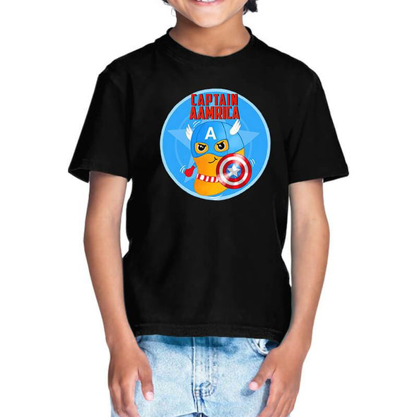 T-SHIRTS 1 / BLACK Captain Aamrica T-Shirt For Kids FRYING PUN